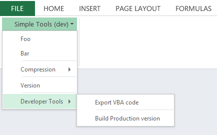 Developer Tools submenu