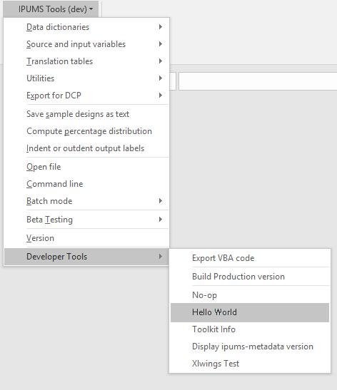 screenshot of hello world menu
