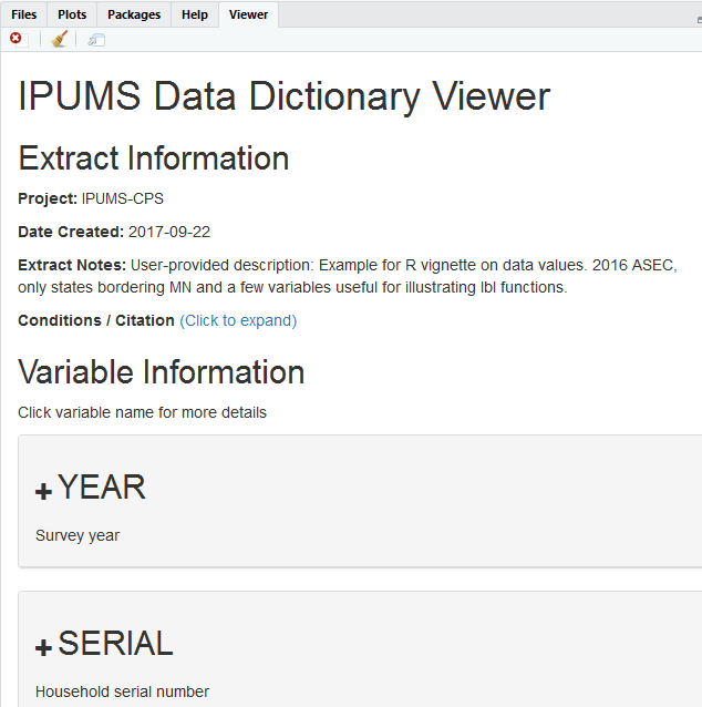 Screenshot of ipums_view in Rstudio viewer